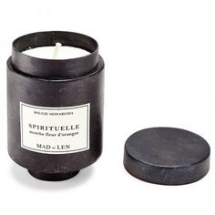 Mad et Len Spirituelle Scented Candle    Fresh notes of eucalyptus, cypress and mint are an ode to earth's elements. Poured and shaped by hand in the South of France, Mad et Len's vegetable wax candle is infused with undiluted flower, wood, and spice essential oils emitting intoxicating rustic, resinous, and woody notes. Housed in a brushed black steel vessel.