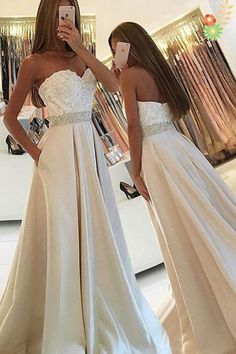 Ivory Satin Sweetheart Long Prom Dresses,Simple Lace Beaded