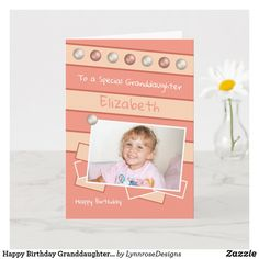 Happy Birthday Granddaughter coral and peach photo Card Birthday Greeting Cards, Custom Greeting Cards, Birthday Greetings, Happy Birthday, Dog Design, Party Hats, Funny Cute, Photo Cards, Thoughtful Gifts
