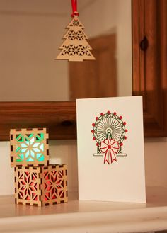 Millennium Wheel Christmas Card laser cut detail by TheBurntEdge  Find on etsy at   https://www.etsy.com/uk/listing/475053334/millennium-wheel-christmas-card-laser