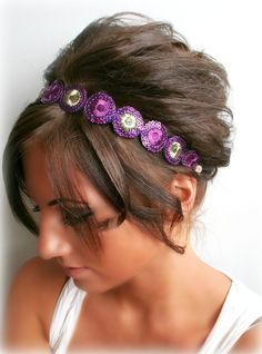 Gold and Purple Embroidered Trim Headband by BrassLotus on Etsy