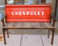 Vintage Chevrolet Tailgate Bench Reclaimed Barn Wood and Metal Rustic Steel Industrial Work bench Shop Garage Decor Office Mountain Cabin