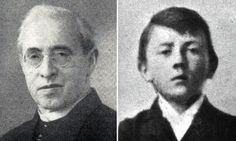 The priest who changed the course of history by rescuing a drowning four-year-old Hitler from death in an icy river. Father Kuehberger, around the same age as Hitler, had seen the other boy struggling in the waters of the River Inn and dived in to rescue him. Photo: Johann Kuehberger, left, saved the life of a four-year-old Adolf Hitler, pictured right in an undated photo, when they were both children.