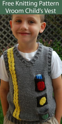 Free knitting pattern for vroom vest for child sizes - vest designed to look like a road for young racers with a double-yellow cable stripe. Boys Knitting Patterns Free, Knitting For Kids, Knit Patterns, Free Knitting, T-shirt Au Crochet, Crochet Shirt, Crochet For Boys, Crochet Vests, Baby Boy Vest