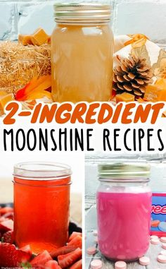 How to make three different flavored moonshine recipes at home. Each of these homemade moonshine recipes is only 2 ingredients and couldn't be easier! Mixed Drinks Alcohol, Alcohol Drink Recipes, Alcohol Gifts, Homemade Alcohol, Homemade Liquor, Strawberry Moonshine Recipe, Moonshine Recipes Homemade, Fruity Cocktails, Alcoholic Cocktails