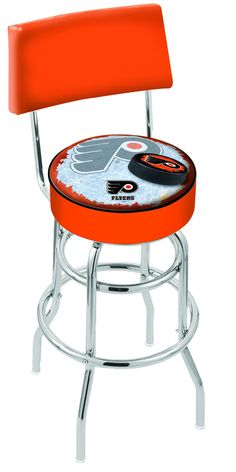 Philadelphia Flyers Bar Stool w/Orange Background L7C425PHIFLY-O-D2  #coolstuff #recroom #gameroom#CUSTOMMADE #PhiladelphiaFlyers(orangeBackground) #BarStool