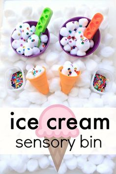 Ice Cream Sensory Bin – Fantastic Fun & Learning Ice Cream Sensory Bin–sensory play fun for toddlers and preschoolers. Use it for a preschool ice cream theme or summer sesnory activity for kids Toddlers And Preschoolers, Sensory Activities Toddlers, Sensory Tubs, Sensory Boxes, Summer Activities For Kids, Art Therapy Activities, Sensory Diet, Summer Preschool Activities, Motor Activities