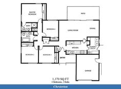 Naval Complex San Diego – Chesterton Neighborhood: 4 bedroom 2 bath home floor plan.