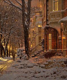 travel tip winter Snow Street Houses Light Winter Szenen, Winter Magic, Boston Architecture, Beautiful Architecture, Christmas Scenes, Europe Christmas, New York Christmas, Christmas Markets, Outdoor Christmas