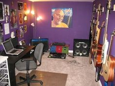 Some day I'd love to have a sound-proof room in the basement to practice in.  Maybe it'd be purple like this...I do love purple, and this would be a safe place to put it!