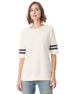 The stripe detail on the sleeves gives this non see-thru tee a vintage feel. Alternative Apparel Fifty Yardliner Vintage Sport French Terry T-Shirt, $48, available at Alternative Apparel. #refinery29 http://www.refinery29.com/best-non-see-through-white-shirt#slide-8