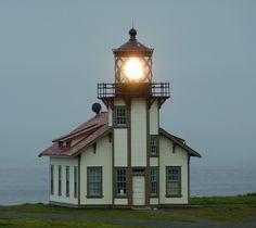Point Cabrillo Light Station, fog signal building, which houses the lens and the museum/gift shop.  Mendocino, California ©Frank Kovalchek