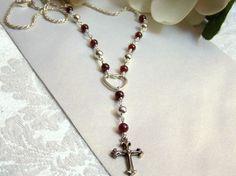 Handmade Artisan Rosary Sterling Garnet by ExquisiteStudios, $81.00