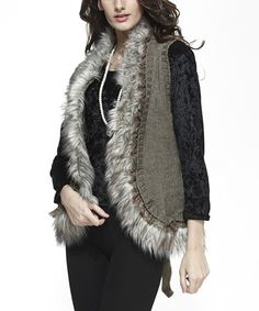 This Simply Couture Taupe Faux Fur-Trim Wool-Blend Vest by Simply Couture is perfect! #zulilyfinds