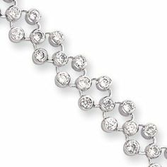 JewelryWeb 925 Sterling Silver Polished Spring Ring Rhodium-Plated Cubic Zirconia and Freshwater Cultured Pearl Necklace 15.5 Inch