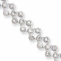 7.25in Rhodium-plated Three Row CZ Circle Bracelet 7.25 Inch - JewelryWeb JewelryWeb. $118.80