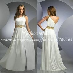 Verdadeiro Pictures projeto original A linha de um ombro Chiffon branco longo Prom Dress com Sash ED846