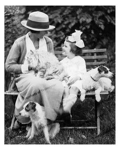 1930s era vintage photo-Woman & girl_cat_jack russell terriers_B&W-8x10 in