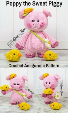 Poppy the Sweet Piggy is a cute crocheted amigurumi doll that loves to wear the flowers she finds. You can create your own Poppy the Sweet Piggy with this downloadable pattern. #crochet #amigurumi #ad #pig #piggy  #crochetdoll #amigurumidoll #amigurumipattern  #instantdownload