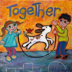 'Together'  whimsical giclee print of original painting Peggy Johnson, $35.00 kids jumping rope dog
