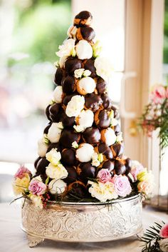 Croquembouche- covered in white and dark chocolate and filled with Crème Anglaise, dark chocolate mousse and Grand Marnier custard. The dessert was made by Cake Designs at Coolum. De-lish!
