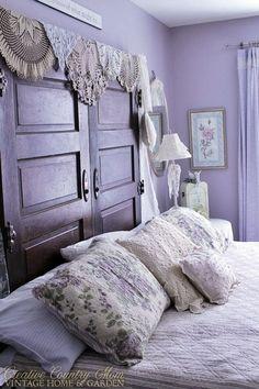 "magicalhome: "" Purple doors and doilies make this unusual headboard. """