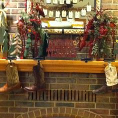 Western Christmas stockings! Using boots instead of stockings! Amazing idea!