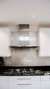 """""""DEEP SILVER"""" is hand-made kitchen glass splashback product from CreoGlass Design Premium Collection range. Using only natural minerals this collection is down to earth design exclusively manufactured by CreoGlass. #splashbacks #kitchen"""