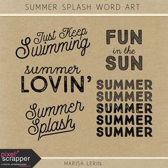 Free Summer Splash Word Art | Marisa Lerin {on Facebook} July 2015 Pixel Scrapper Blog Train
