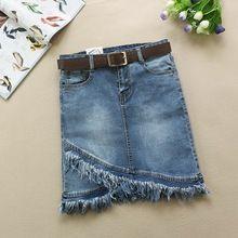 2018 Hot Sale Sexy Womens Vintage A-line Jeans Skirt High Waist Irregular Tassels Denim Skirt Female Ladies Falda Jupe(China)