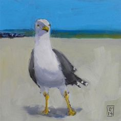 """""""Happy Guy, 6x6 Oil Painting of a Seagull by Kelley MacDonald"""" - Original Fine Art for Sale - © Kelley MacDonald"""