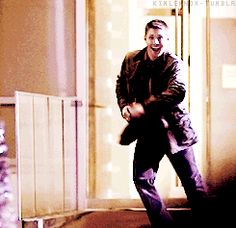 [gif] 4x10 The Curious Case of Dean Winchester...Dean doing the Newsies jump and heel click