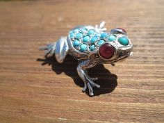 """Sterling """"Bright Eyes"""" Ruby/Multi Turquoise FROG Brooch Combination from eternalfinejewels on Ruby Lane"""