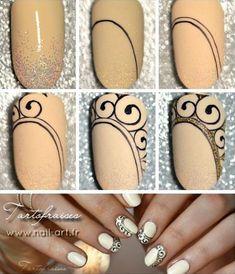 fr nail art nails, nail designs, nail a Diy Nail Designs, Acrylic Nail Designs, Acrylic Nails, Gel Nail, Easy Nail Art, Cool Nail Art, Nail Art Arabesque, Pretty Nails, Love Nails