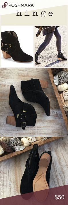 🍂Hinge Billy Suede Ankle Bootie/Blk/sz 6 Brand New! The Billy Bootie by Hinge is the perfect style to complete your Fall look!  Perfect with a pair of your favorite jeans, the Billy has a Black suede upper, equestrian hardware and a 2 in block heel. Brand new never worn/dept store closeout/no box. 🚫no trades/low offers not accepted. Hinge Shoes Ankle Boots & Booties