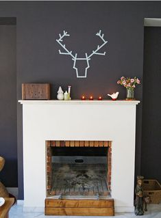 DIY | washi tape | stag head | for the home | fireplace