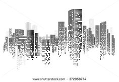 Vector Design - EPS10 Building and City Illustration at night, City scene on night time, Night cityscape