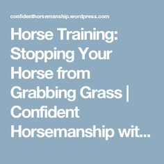 Horse Training: Stopping Your Horse from Grabbing Grass | Confident Horsemanship with Anne Gage