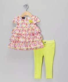 Take a look at this Pink & Yellow Tiered Ruffle Dress & Leggings - Infant by Calvin Klein on #zulily today!