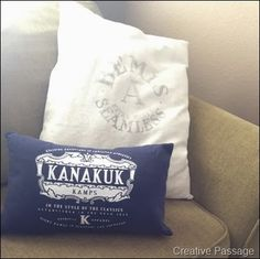 T-shirt pillows. great idea, no tutorial but how easy the sides are already sewn together, just cut the top off (bottom too for a smaller pillow) you could even sew it together then cut the excess off before turning right side out.