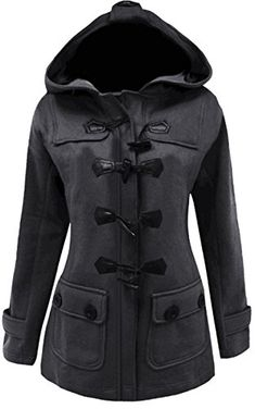 a05b6b42af1 Meaneor Womens Plus Size Jacket Duffle Style Toggle Hoodie Pea Coat Top M  Dark Gray *