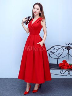 Burgundy Cocktail Dress Notch Collar Party Dress Satin A Line Tea Length Occasion Dress With Pockets wedding guest dress Formal Dresses With Sleeves, Bridesmaid Dresses With Sleeves, Burgundy Bridesmaid Dresses, Tea Length Dresses, Party Dresses For Women, Simple Dresses, Elegant Dresses, Cute Dresses, Casual Dresses