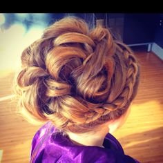 recital hair-braid to curly bun, more recital like than competition...cute little girl Updo http://instagram.com/sparklysodastyle