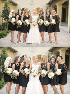Dallas wedding photographer, Mary Fields Photography, bridal party pictures, black mismatched bridesmaid dresses, white bridal bouquets, nude bridesmaid shoes, outdoor wedding pictures