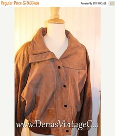 50% OFF Labor Day Sale Men's 80's Vintage Brown Leather and Suede Bomber Jacket East West