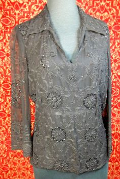 PAZO sheer black beaded bohemian 3/4 sleeve tunic blouse 8 (T08-05G7F) #PAZO #Blouse #Casual