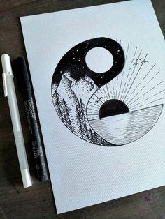 Items op Etsy die op Originele Yin Yang tekening, tekening gemaakt met zwarte inkt lijken It is possible to work with the pencil drawing technique as being a single color. Pencil Art Drawings, Cool Art Drawings, Art Drawings Sketches, Easy Drawings, Drawing Drawing, Sketch Art, Doodle Drawings, Drawing Poses, Drawing Ideas