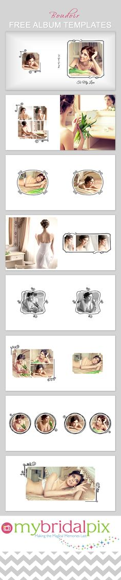 FREE #Boudoir book album/photobook templates. Simply drag and drop your images into our ready made templates - hundreds to choose from www.mybridalpix.com
