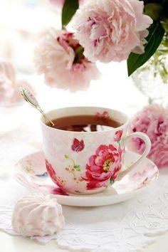 Pink Rose + butterfly teacup + tea spoon
