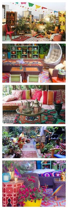 Colorful Bohemian Outdoor Spaces & How to Get the Look {bohemian backyards, porches and patios} Boho patio ideas Patio Bohemio, Bohemian Patio, Bohemian Interior, Bohemian Design, Modern Bohemian, Interior Exterior, Interior Design, Exterior Signage, Grey Exterior
